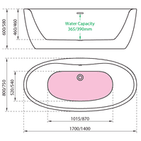 Charlotte Edwards Callisto Stand Alone Small Freestanding Bath 1400mm x 750 x 580mm